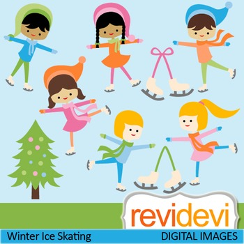 Clip art Winter Ice Skating (Ice skaters, boys, girls) cute clipart 07437