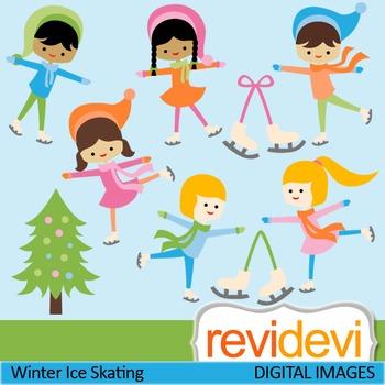 Clip art Winter Ice Skating (Ice skaters, boys, girls) cut
