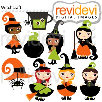 Clip art Witchcraft (cute halloween girl witch) 08123