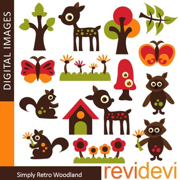 Clip art Woodland Animals - Simply Retro Woodland