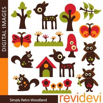 Clip art Woodland Animals - Simply Retro Woodland