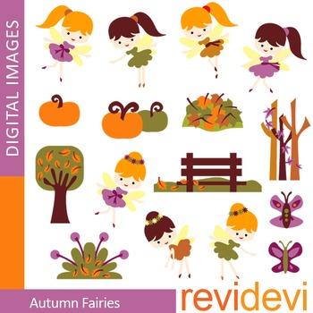 Clip art autumn fairies (cute cliparts for teachers) 07338