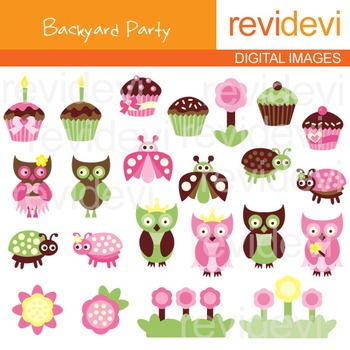 Clip art backyard party pink brown green lime (owls, cupcakes, ladybugs)