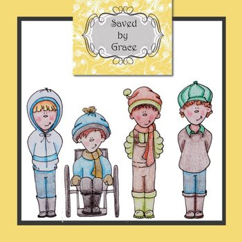 Clip art boys winter characters FULL COLOR and B&W line art