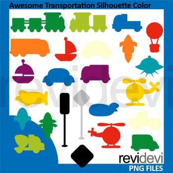 Clip art bundle / Mix transportation bright colors