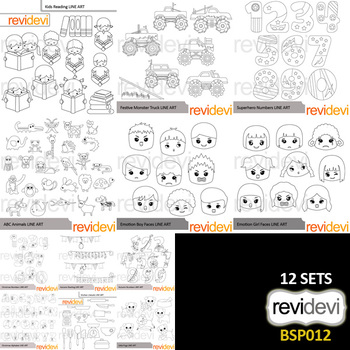 Clip art bundle special black and white - Collection 12