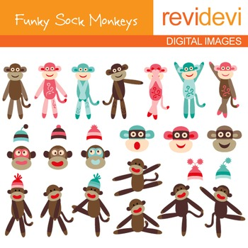 Clip art cute dancing sock monkeys
