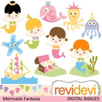 Clip art cute mermaids (girls, sea animals, treasure box) clipart