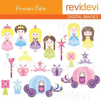 Clip art: cute princesses (pink, purple, blue) fairytale clipart