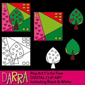 Clip art for color by code, interactive pop art - T is for Tree