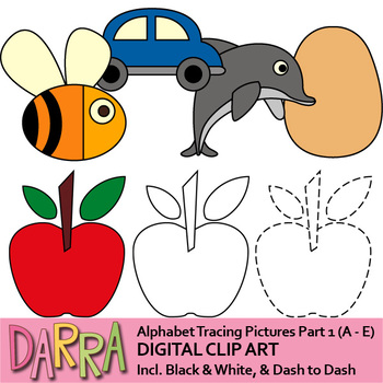 Clip art for tracing pictures activities - Alphabet clipart part 1 (A to E)