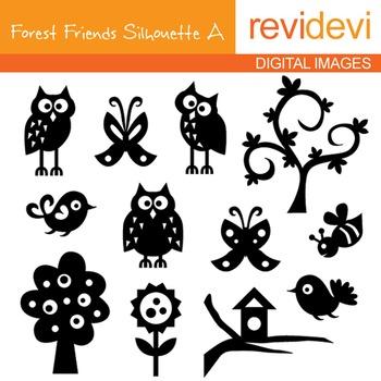 Clip art forest friends A silhouette 07087 (owls, birds, trees)