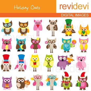 Clip art holidays owls 07160 (24 digital graphics)