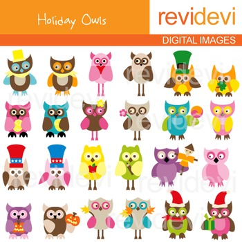 Clip art holidays owls 07160 (24 digital graphics)