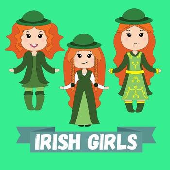 "Clip-art ""Irish Girls"" - St. Patrick's Day kids"
