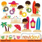 Clip art: kids at beach, summertime (sands, surf boards) summer clipart