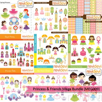 Clip art mega bundle (9 packs) princess and friends clip art