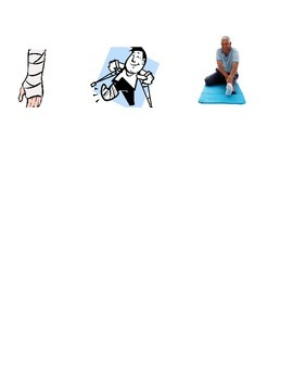Clip art of injuries to body parts for speaking or writing