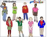 Clip art of students, grade five. Clipart of fifth graders.
