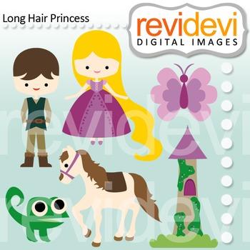 Clip art: prince charming and long hair princess