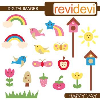 Clip art: rainbow, flying birds, the sun, bird house, flowers