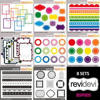 Clip art resource for teacher seller - clipart bundle (rainbow colors and gray)