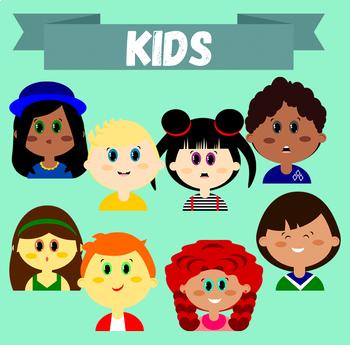 """Clip-art set """"Kids"""" - (Children Heads/Faces Images)"""