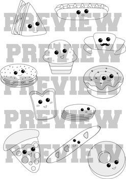 "Clip-art set ""Cute food"" Baked edition"
