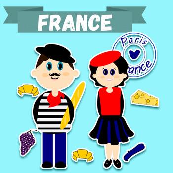 Clip-art French Kids + French symbols