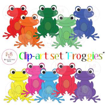 "Clip-art ""Frogs"" - Rainbow Froggies!"