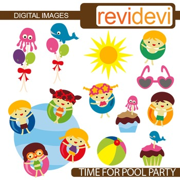 Clip art summer pool party
