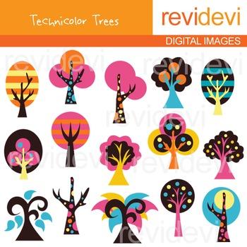 Clip art technicolor trees (vibrant colors) clipart