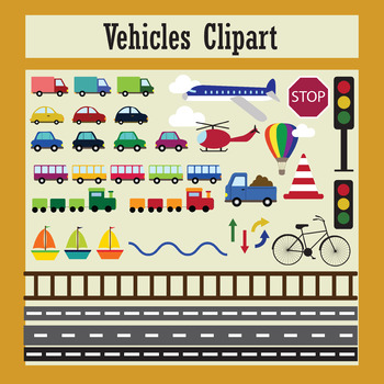 Clip art vehicles, traffic, cars