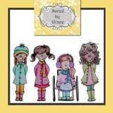 Clip art winter girl characters FULL COLOR AND BLACK & WHITE images