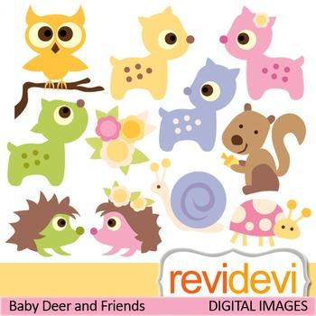 Clip art woodland pastel animals (deers, hedgehog, owl, squirrel) clipart
