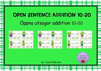Clip card addition 10-20 open sentence
