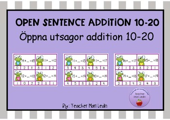 Clip card open sentence addition 10-20