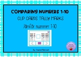 Clip cards comparing numbers snowman tally marks 1-10