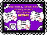 Clip game BUNDLE! Beginning, Medial, Ending Sounds games included! Word Work