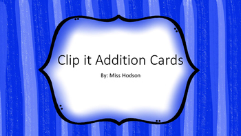 Clip it Addition Cards