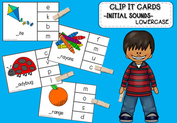 Clip it cards -Initial sound- Lowercase