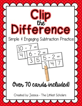 Clip the Difference [Hands-On Subtraction Center]