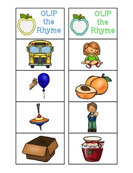 Clip the Rhyming Word: Apple Edition