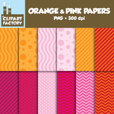 ClipArt: FREE Orange and Pink Fun decorative backgrounds - 12 Digital Papers