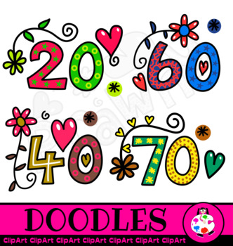 ClipArt Hand Drawn Doodle Numbers