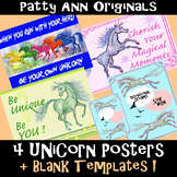 ClipArt UNiCORN 4 Poster Variety Pack: Create Your Own- Includes Blank Templates