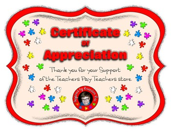 ClipArt and Resources Store Support Certificate ~ Inspired