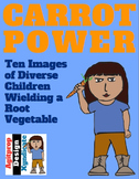 ClipArt of Diverse Kids Holding a Carrot