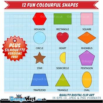 Clipart - 12 Colourful Shapes