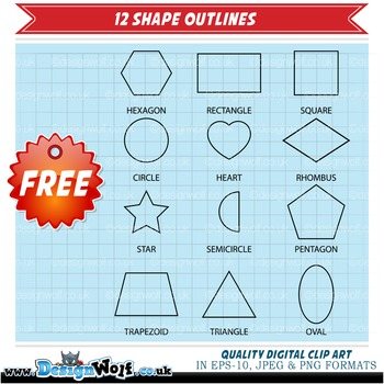 Clipart - 12 Fun Colourful Shapes With Kawaii Faces